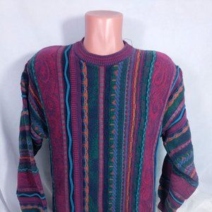 Vtg Cotton Traders Sweater Sz Large Coogi Style